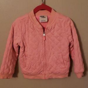 Pink quilted zip jacket